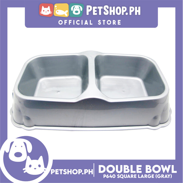 Petshop.ph Square Double Bowl Large Gray P640