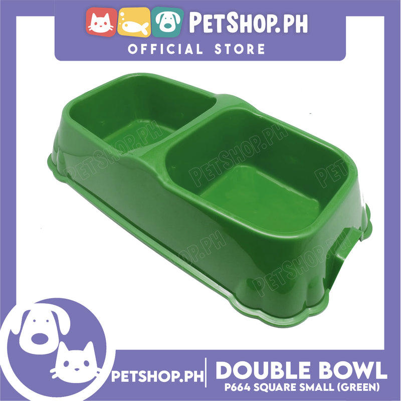 Petshop.ph P664 Square Double Bowl Small Green