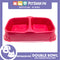 P664 Square Double Bowl Small Red
