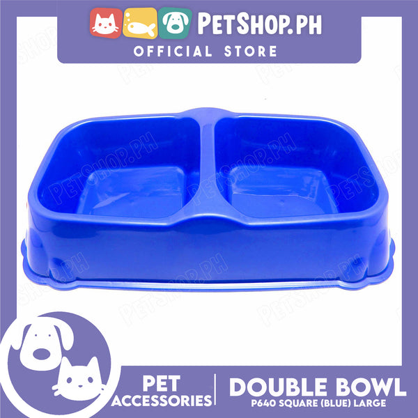 P640 Square Double Bowl Large Blue
