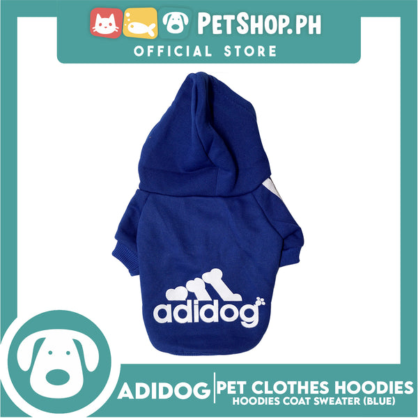 Adidog Pet Clothes Hoodies, Dog Winter Hoodies Apparel Puppy Cute Warm Hoodies Coat Sweater (Blue) (Large)