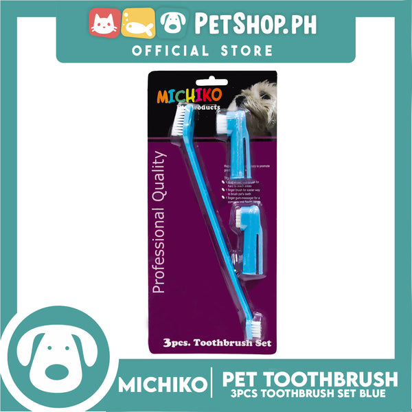 Michiko Toothbrush 3pc Set Blue