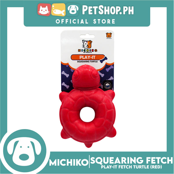 Michiko Play It Squeaking Fetch Turtle Design Red