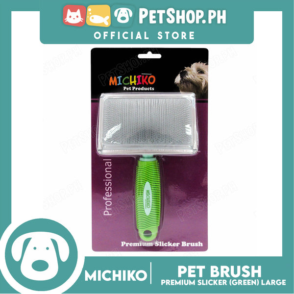 Michiko Large Pet Slicker Brush Green Large