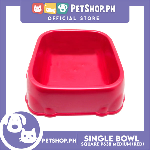 P638 Square Single Bowl Medium Red