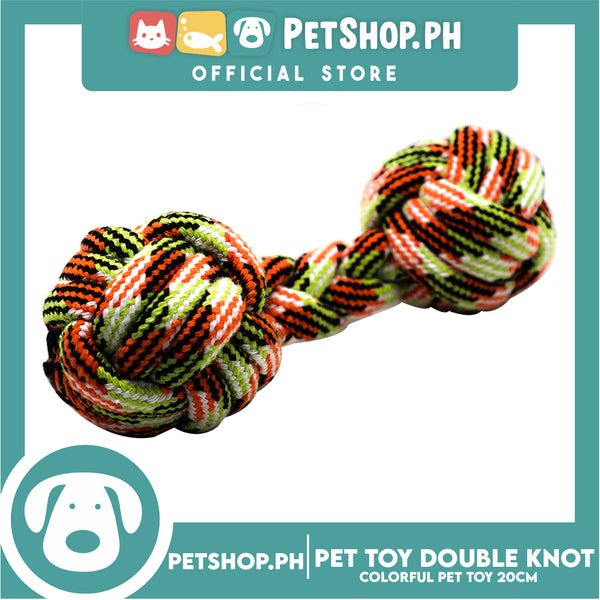 Pet Toy Colorful Double Knot Rope Ball Toys 20cm for Small Medium Dogs Puppies (Vivid Color)