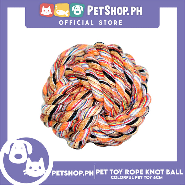 Pet Toy Colorful Rope Knot Ball 6cm for Puppies, Kittens & Small Dogs  -Teething Chew Toy, Tug Toy