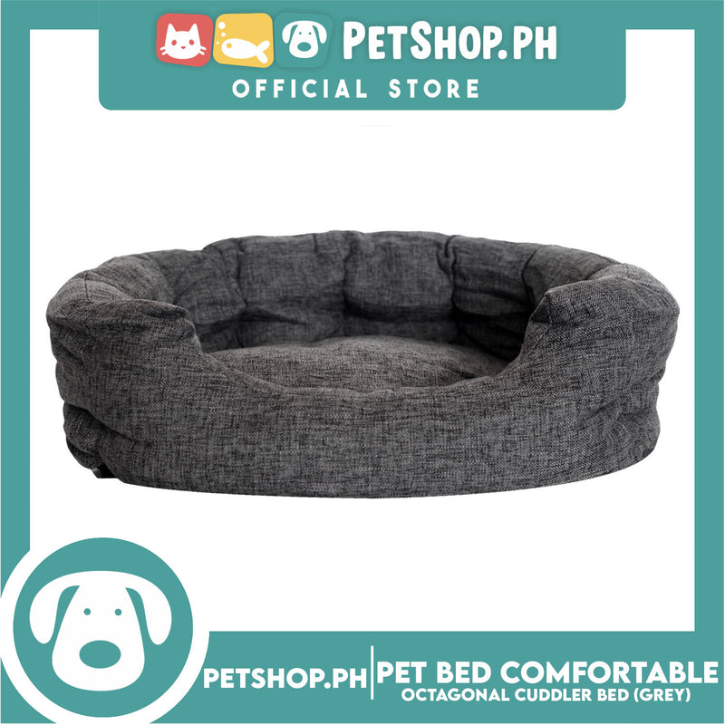 Pet Bed Comfortable Octagonal Cuddler Dog Bed 65x60x18cm Large for Dogs & Cats (Grey)