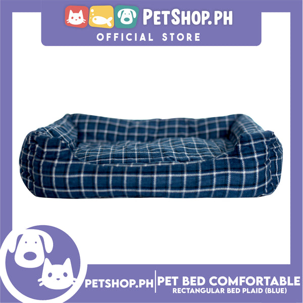 Pet Bed Comfortable Rectangular Pet Bed Plaid Design 50x41x10cm Medium for Dogs & Cats (Blue)