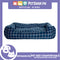 Pet Bed Comfortable Rectangular Pet Bed Plaid Design 63x50x10cm Large for Dogs & Cats (Blue)
