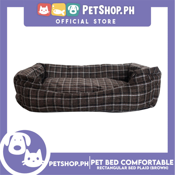 Pet Bed Comfortable Rectangular Pet Bed Plaid Design 42x33x8cm Small for Dogs & Cats (Brown)