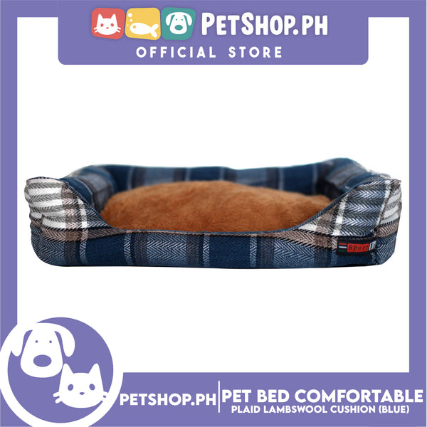 Pet Bed Comfortable Sleeping Bed Plaid Cotton Design with Lambswool Cushion 70x53x11cm Large (Blue)