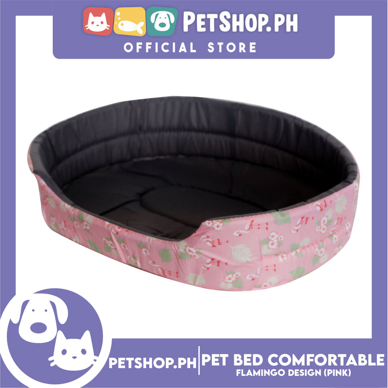 Pet Bed Comfortable Sleeping Bed with Flamingo Design 62x50x15cm for Dogs & Cats Pink