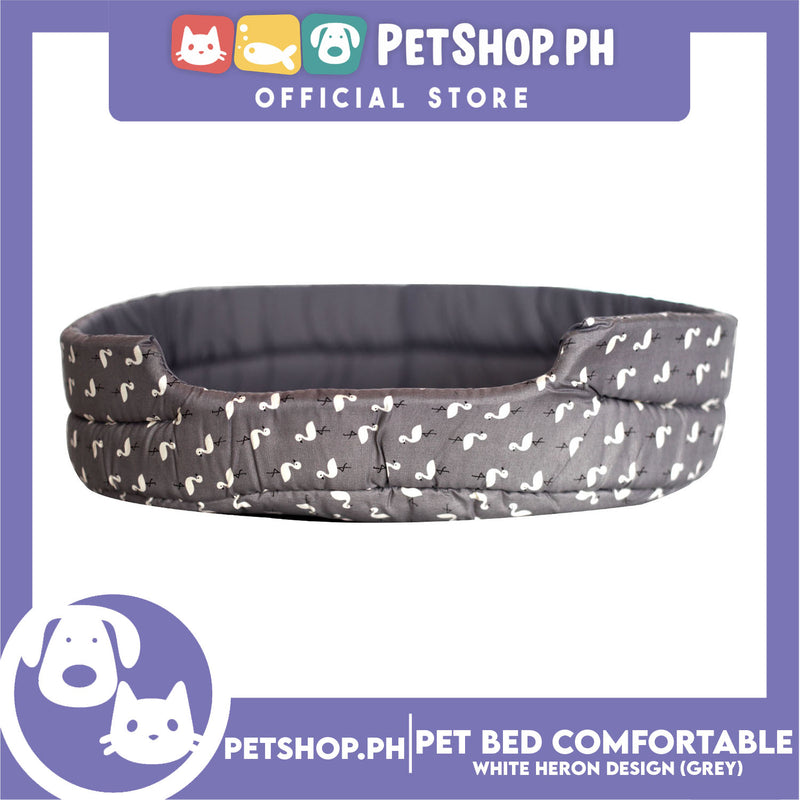 Pet Bed Comfortable Sleeping Bed with White Heron Design 62x50x15cm for Dogs & Cats Grey