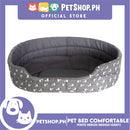 Pet Bed Comfortable Sleeping Bed with White Heron Design 58x45x14cm for Dogs & Cats Grey