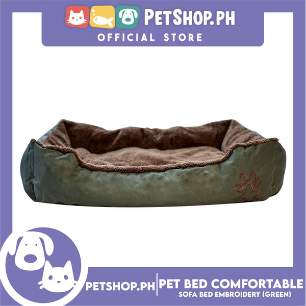 Pet Bed Comfortable Sofa Bed with Paw Embroidery Design 110x80x16cm XL for Dogs & Cats (Green)
