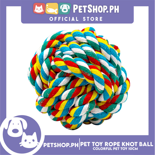 Pet Toy Colorful Rope Knot Ball 10cm for Medium Dog & Cat -Teething Chew Toy, Tug Toy, Knots Weave