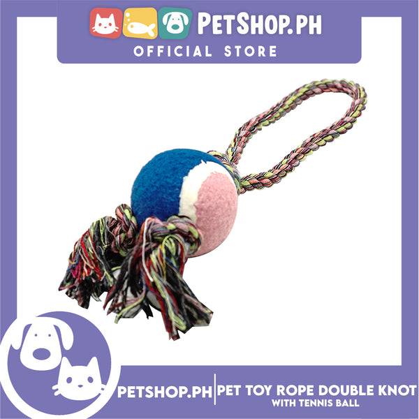Pet Toy Rope Double Knot with Tennis Ball Toy for Dog- Interactive Toy, Pet Ball, Tennis Rope