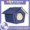 Portable Pet House Bed With Soft Sided Solid Color 35x39x43cm Large (Blue)