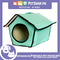Portable Pet House Bed With Soft Sided Solid Color 35x39x43cm Large (Mint Green)
