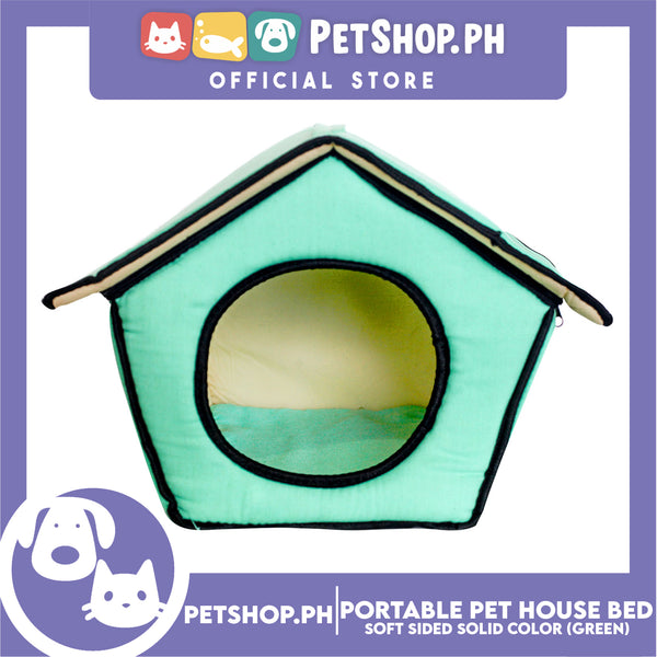 Portable Pet House Bed With Soft Sided Solid Color 25x31x32cm Small (Mint Green)