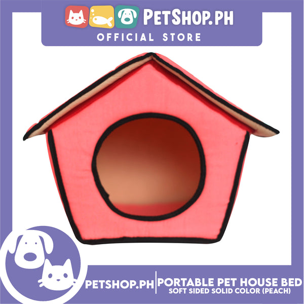Portable Pet House Bed With Soft Sided Solid Color 30x33x32cm Medium (Peach)