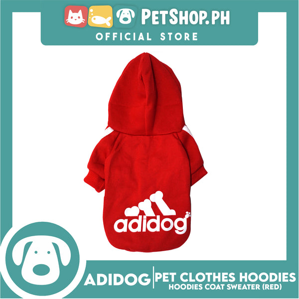 Adidog Pet Clothes Hoodies, Dog Winter Hoodies Apparel Puppy Cute Warm Hoodies Coat Sweater (Red) (Large)