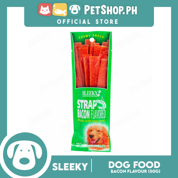 Sleeky Chewy Strap Bacon Flavored 50g