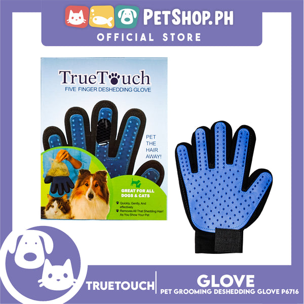 True Touch Pet Grooming Five Finger Deshedding Glove P6716 for Dogs & Cats