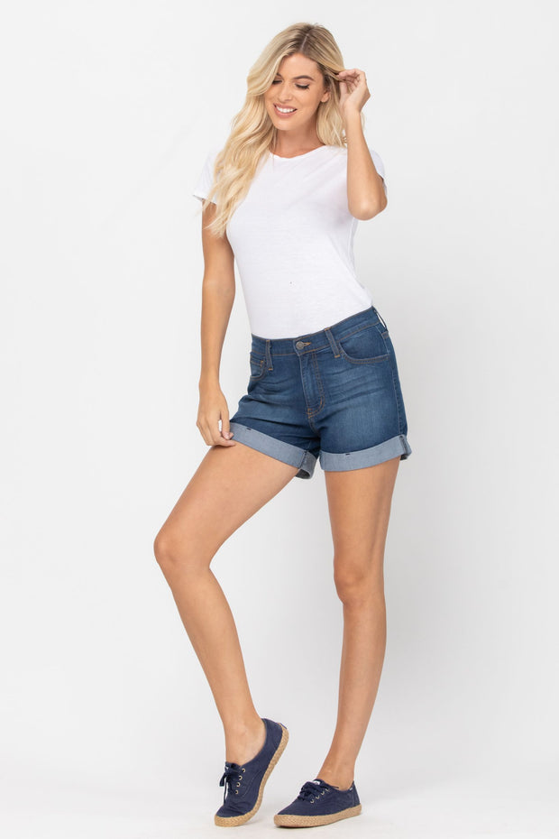 Don't Be Basic Cuffed Shorts by Judy Blue