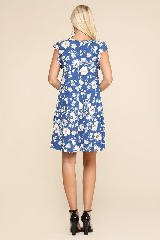 The Cynthia Dress in Blue Floral