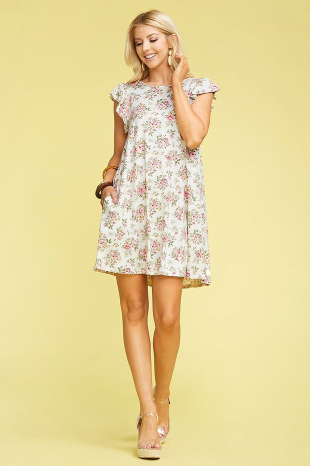 The Cynthia Dress in Ivory Floral - The Teal Turtle Clothing Company