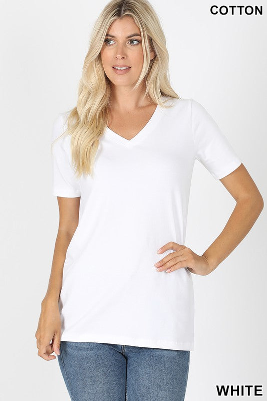 Just The Basics Relaxed V Neck Tee in White