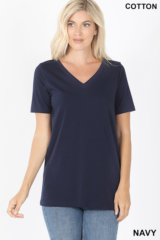 Just The Basics Relaxed V Neck Tee in Navy