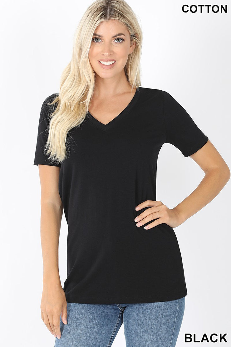 Just The Basics Relaxed V Neck Tee in Black