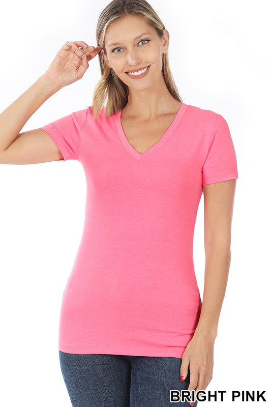 Just The Basics V Neck Tee in Bright Pink