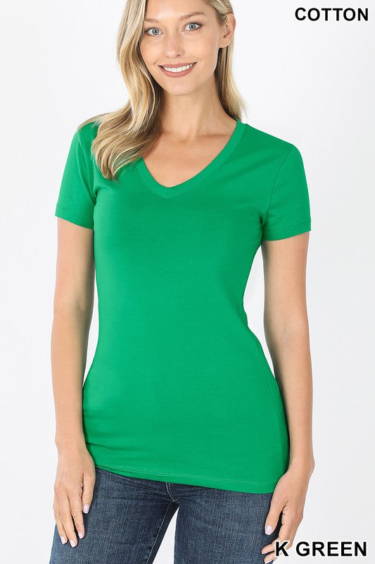 Just The Basics V Neck Tee in Kelly Green