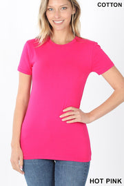 Just The Basics Crew Neck Tee in Hot Pink - The Teal Turtle Clothing Company