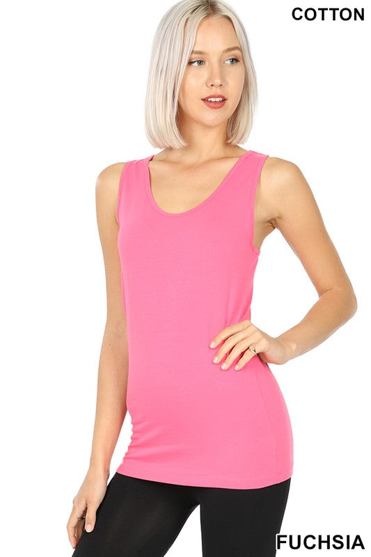 Just The Basics Racerback Tank in Fuchsia