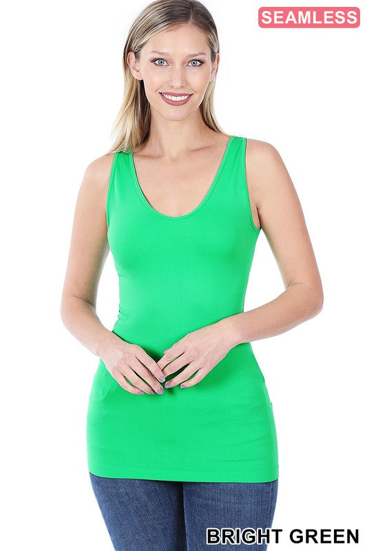 Just The Basics Scoop Neck Tank in Bright Green