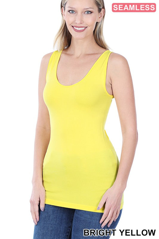 Just The Basics Scoop Neck Tank in Bright Yellow