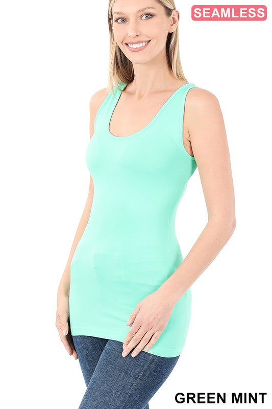 Just The Basics Scoop Neck Tank in Green Mint