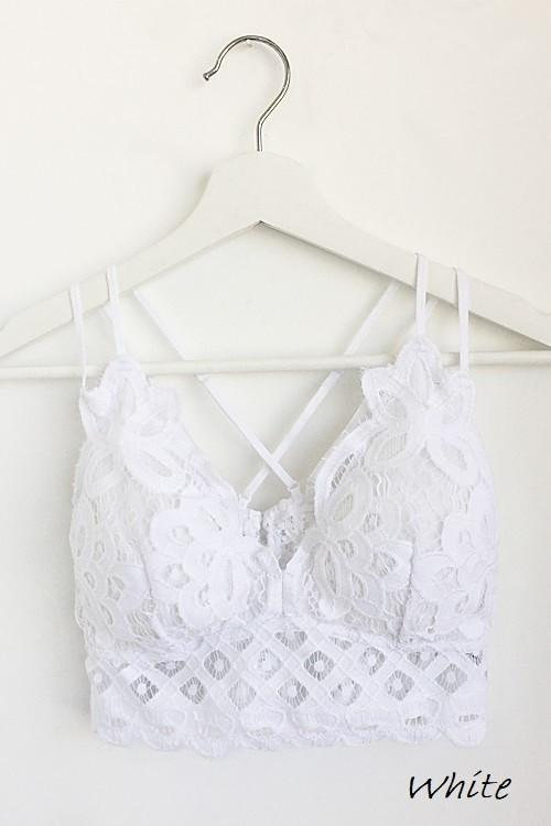 Crochet Lace Bralette In White - The Teal Turtle Clothing Company