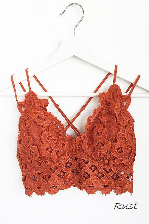 Crochet Lace Bralette In Rust