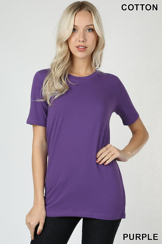 Just The Basics Relaxed Crew Neck Tee in Purple