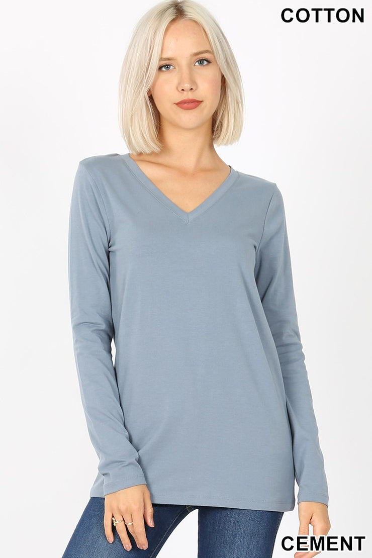 Just The Basics Relaxed V Neck Long Sleeve in Cement