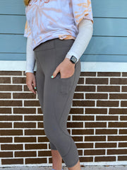 Soft As Butter Pocket Capri Leggings in Smoky Grey