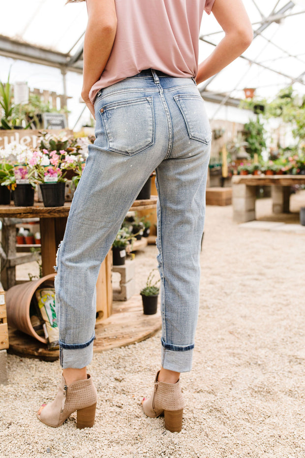 Beach Splash Destroyed Boyfriend Jeans - The Teal Turtle Clothing Company