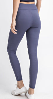 Soft As Butter Moto Leggings In Vintage Denim - The Teal Turtle Clothing Company