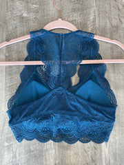 Lacy Bralette In Teal - The Teal Turtle Clothing Company